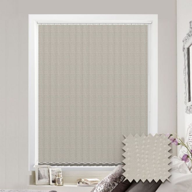 Made to measure vertical blind in Buble Pattern Cream Fabric - Just Blinds